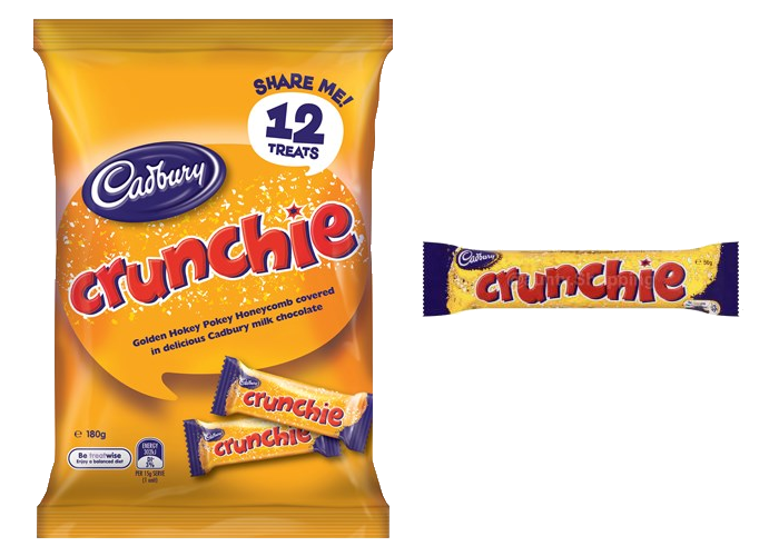 180gm bag of 12 individually wrapped Crunchie treat bars alongside a regular Crunchie bar (not to scale)